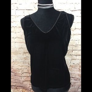 AGB Tank Top Blouse V Neck velour Black size Large